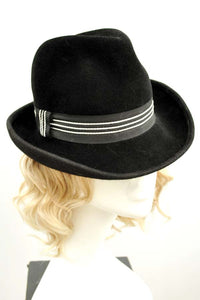 Women's Vintage Black Felt Trilby Style Hat with White Stitched Band