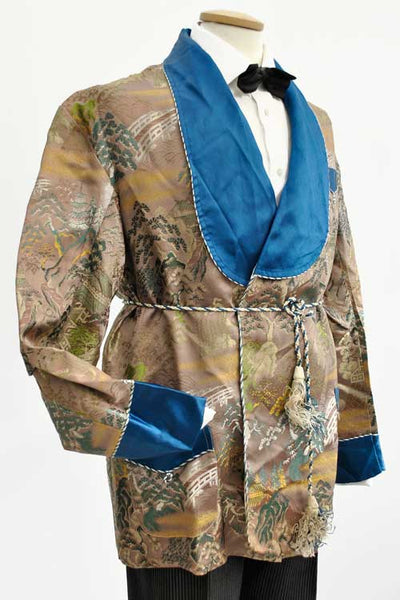 classic vintage oriental silk brocade smoking jacket