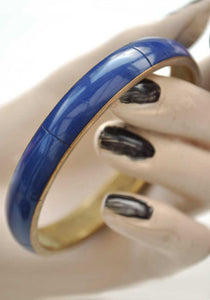 Vintage Blue Enamel and Brass Bangle • Brass Bracelet