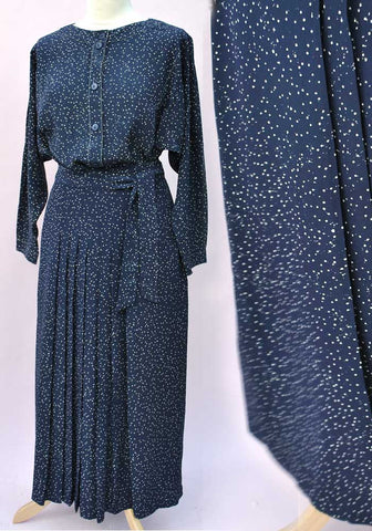 Vintage 80s Blue Caroline Charles Silk Pleated Skirt Suit