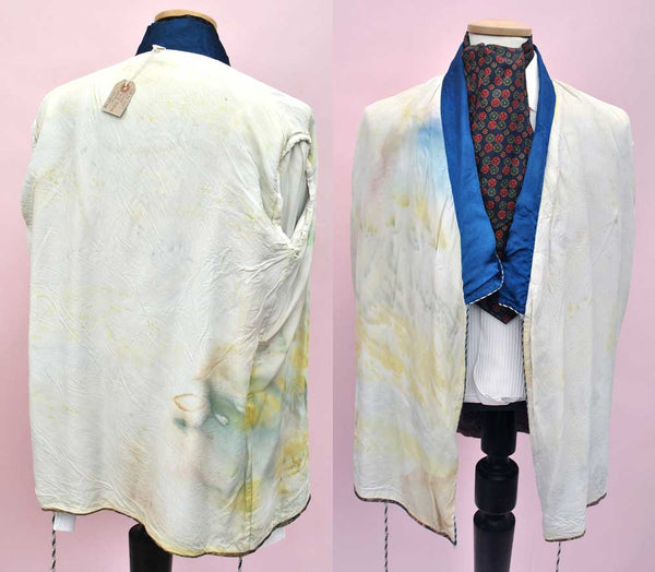 1950s Vintage Blue Silk Brocade Smoking Jacket Robe • Chinoisserie