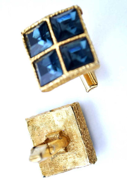 1950s Vintage Commodore Sapphire Glass Cufflinks