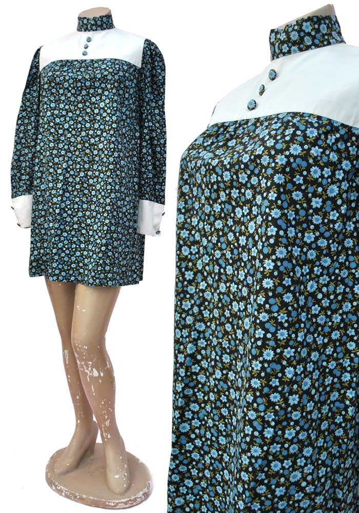 floral cotton 60s mini dress, mod scooter girl