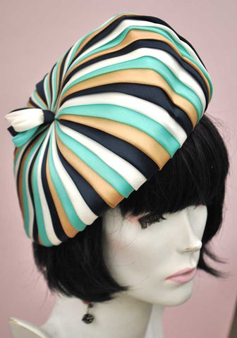 Vintage 60s Edna Wallace Silk Pleated Turban Hat • Turquoise Gold Blue White