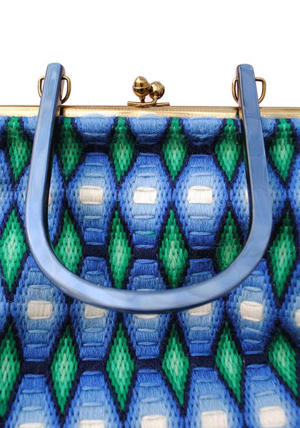 1960s Vintage Bargello Embroidered Blue and Green Handbag • Pearl Lucite Handle