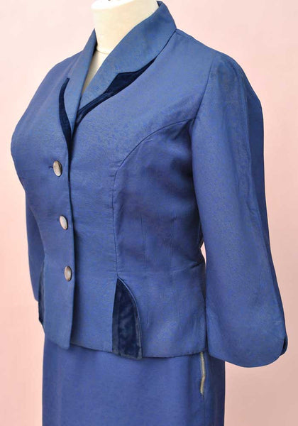 blue velvet 1950s 2 piece skirt suit, fitted jacket perfect for Goodwood Revival