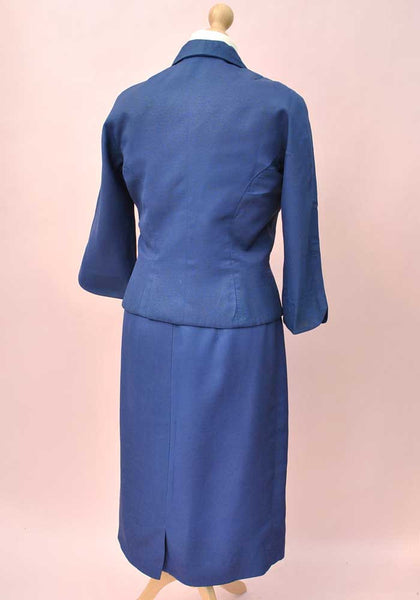 royal blue tailored suit, original vintage 50s skirt and hourglass jacket