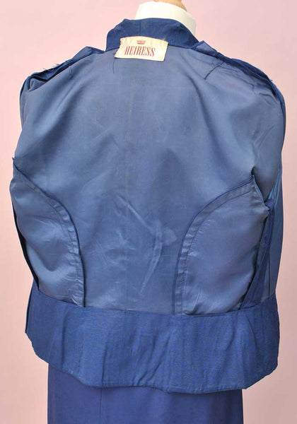 Vintage 50s Blue Tailored Suit by Heiress • Pencil Skirt & Fitted Jacket