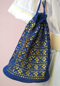 vintage needle lace crochet drawstring bag, purse in blue and yellow