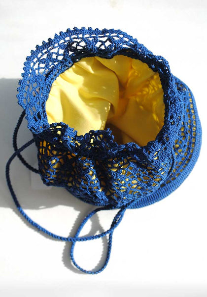 1970s Vintage Blue & Yellow Lace Crochet Drawsting Bag Purse