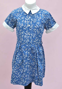 Vintage Girl's Lily of the Valley Blue Printed Cotton Dress • Children's Summer Dress