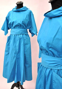 Vintage 80s Blue Parigi New Wave Skirt Top Set • 2 Piece Dress