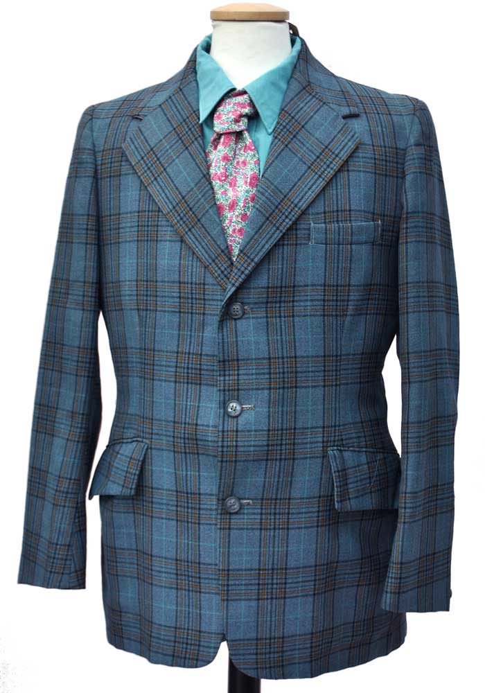 60s blue plaid sports jacket blazer