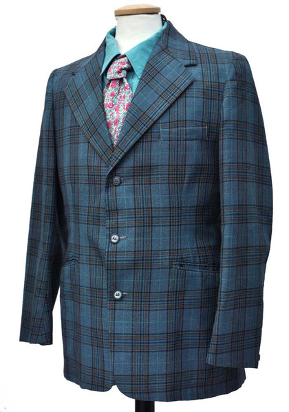 Men's Vintage 1960s Blue Plaid Blazer Sports Jacket