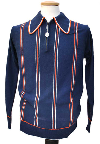 vintage tootal polo shirt blue and red stripes