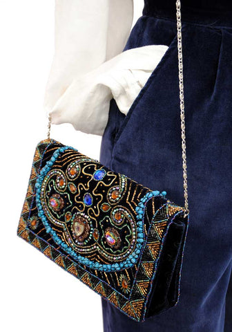 blue velvet beaded evening bag