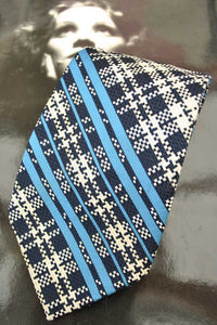 Vintage 70s Blue and White Burton's Neck Tie • Kipper Tie