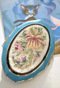 vintage embroidered enamel compact powder case