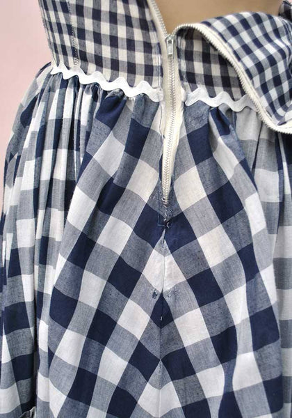 1960s Vintage Blue Gingham Square Dance Dress • Rockabilly