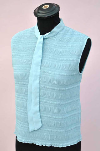 vintage 60s powder blue top, shirred mod blouse