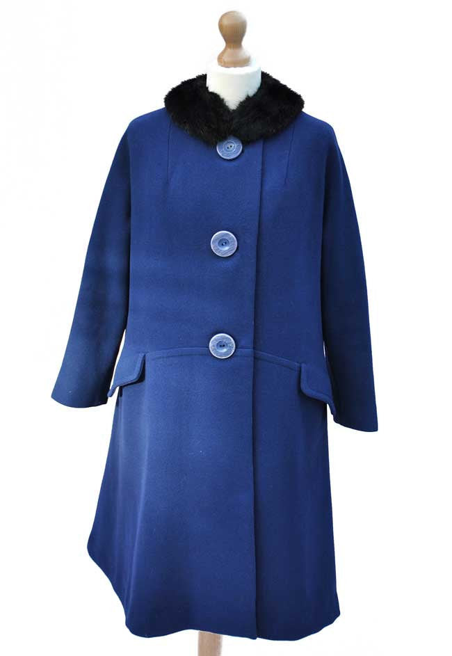 vintage swing coat by Alexon in royal blue with black fur collar