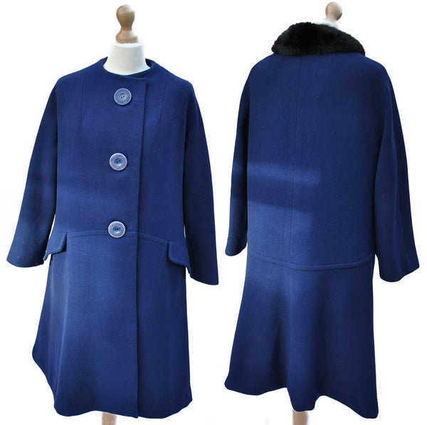 women's 50s blue swing coat, with oversized buttons