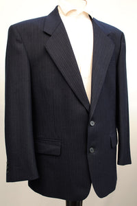 Men's Vintage Dunn & Co Navy Blue Pinstripe Suit 42S