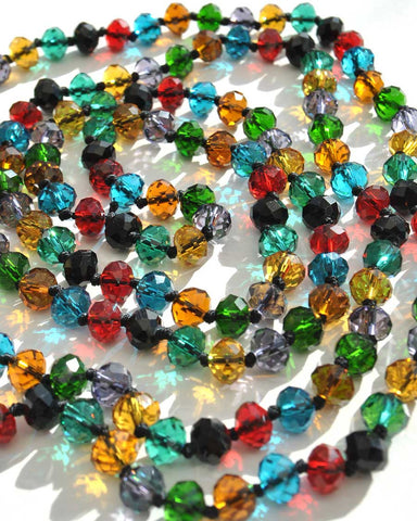Multicoloured vintage Czech glass beads, long flapper beaded necklace with bohemian glass