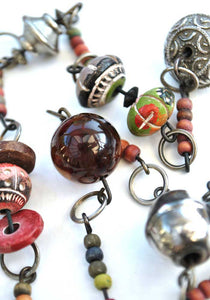 vintage boho tribal necklace with carnelian, silver and hand painted beads