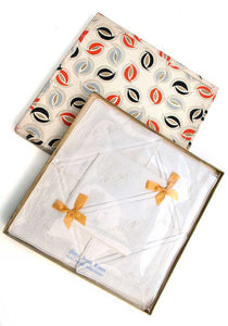 vintage deco gift box irish linen embroidered hankies