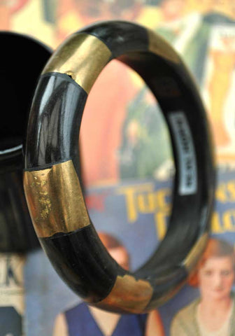 Black Horn and Brass Bangle Bracelet • Hand Made in India