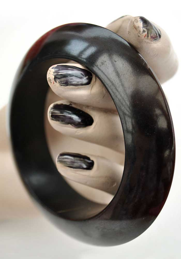 Heavy Vintage Dark Brown Flying Saucer Bangle Bracelet