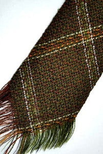 vintage brown checked tweed tie with fringed ends