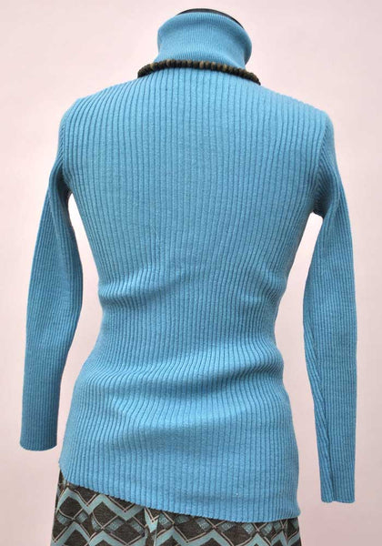 1970s Vintage AirForce Blue Ribbed Polo Neck Sweater