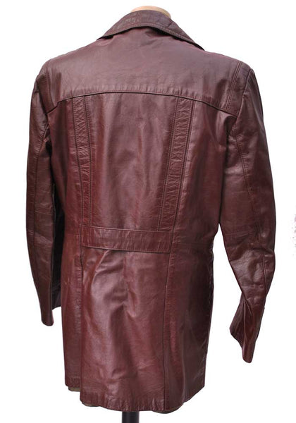 burgundy leather coat with removable lining from Sears New York 1970s