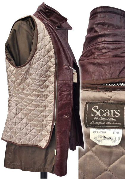 1970s Men's Burgundy Leather Jacket Coat from Sears NY • Boogie Nights