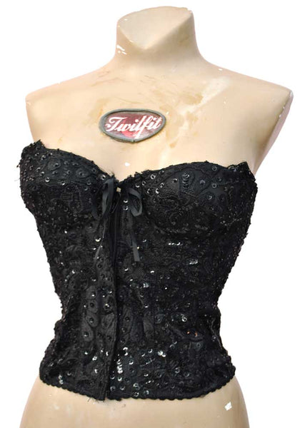 black bead encrusted corset bustier evening top, glamorous disco bodice