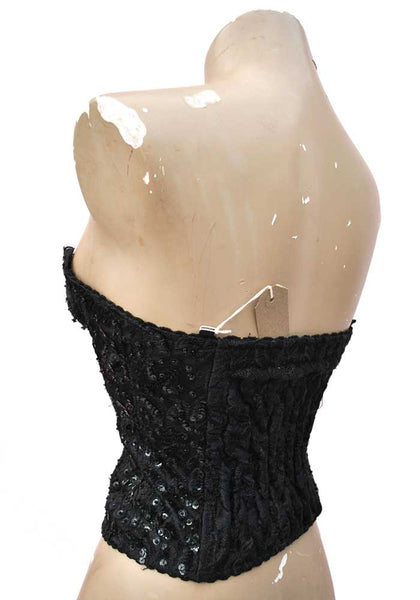 "1980s Vintage Disco Black Beaded Bustier Corset Top • 32-34"" • Front zip fastening"