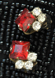 1950s Vintage Red Square Cut Rhinestone Clip On Earrings