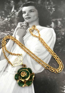 vintage green enamel gold rose pendant necklace for girls