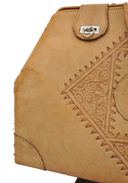 Vintage Moroccan Tooled Camel Leather Weekend Bag • Travel Case