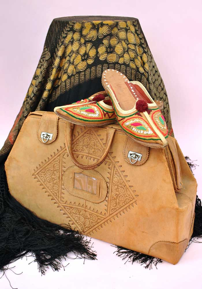 moroccan tooled camel leather weekend travel bag