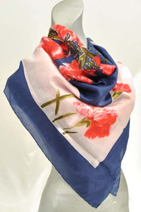 Vintage Silk Headscarf with Pink Carnation Print