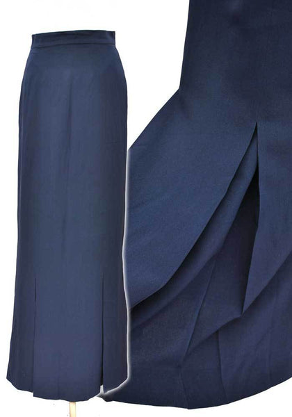 vintage chanel boutique maxi skirt in blue with kick pleats from the knee, very edwardian in style