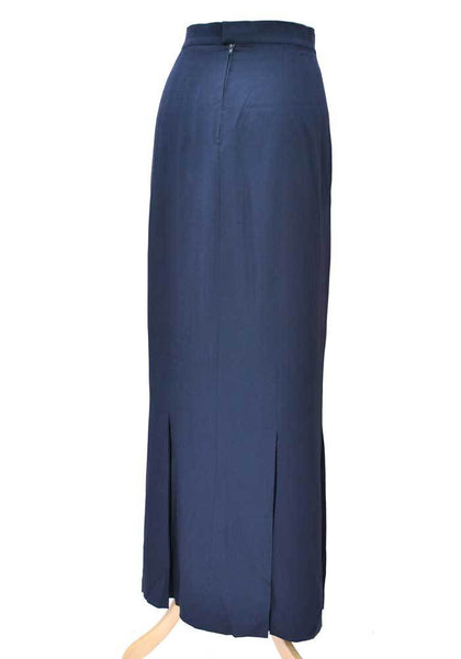 1980s Designer Chanel Long Blue Box Pleat Skirt • 1930s Style