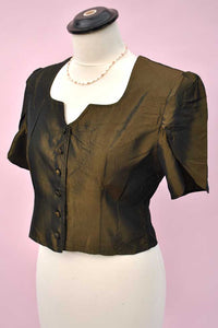 Vintage 80s Charlotte Halton Bronze Evening Blouse Top
