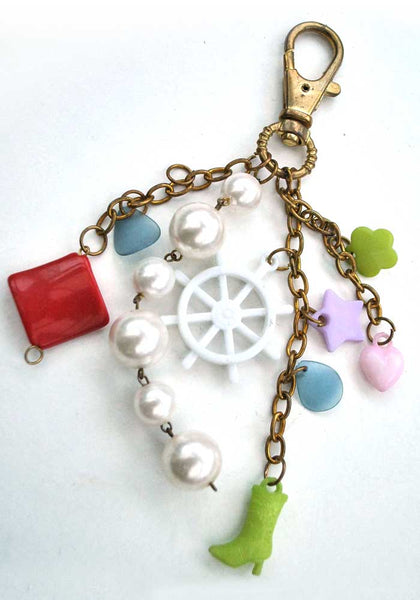 Vintage 60s Plastic Charm Keyring • Ships Wheel • Boot  Hearts