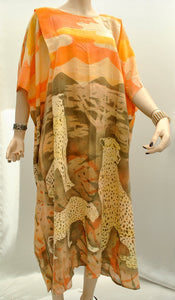 1960s Vintage Summer Artisan Kaftan Maxi Dress with African Cheetah Print