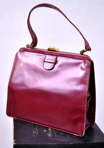 1950s Vintage Pearlescent Patent Leather Lodix Handbag Bag • Madmen
