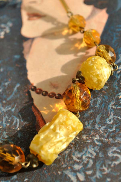 citrine, butterscotch amber art glass